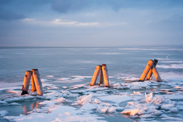 Ice on the lake in Burgenland
