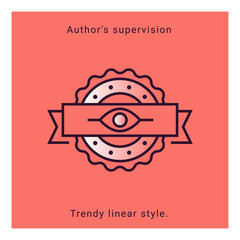 Author's supervision icon in vector line style. Architecture supervision trendy emblem in minimal graphic on background. App template on coral background. Ui design elements.