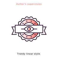 Author's supervision icon in vector line style. Architecture supervision trendy emblem in minimal graphic on white background. App template on coral background. Ui design elements.