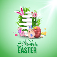 Happy easter image vector. Modern happy Easter background with colorful eggs, bunny, rubbit, and spring flower. Template Easter greeting card, vector.