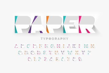 Paper cut typography, alphabet letters and numbers