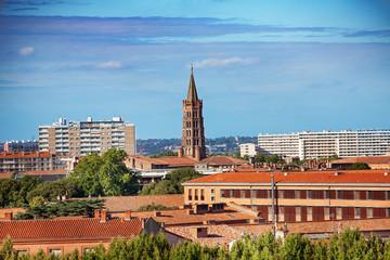 Toulouse cityscape with the Saint-Sernin basilica, France