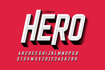 Comics hero style font design, alphabet letters and numbers Wall mural