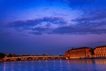 Night view of Garonne river embankment in Toulouse