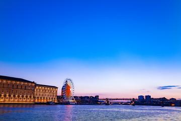 Panoramic view of Garonne riverside during sunset