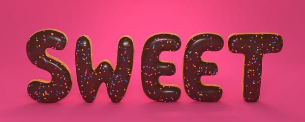 3D Illustration sweet stehen rosa Hintergrund