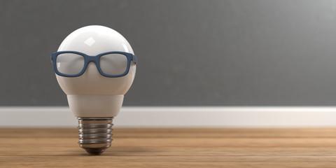 3D Illustration weiße Glühbirne mit Brille