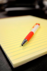 Legal Notepad on Desk with Pen for Writing Notes Business Work Education