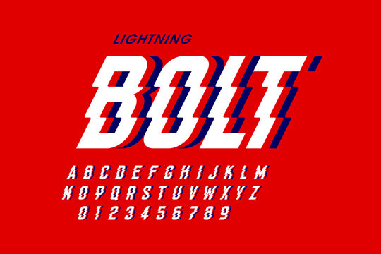 Lightning bolt style font design, alphabet letters and numbers