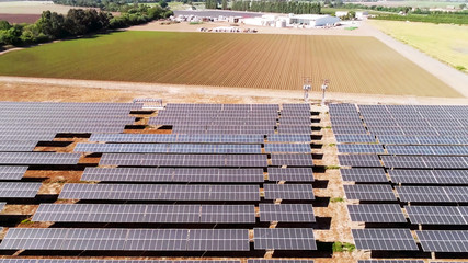 solar panels and agriculture field