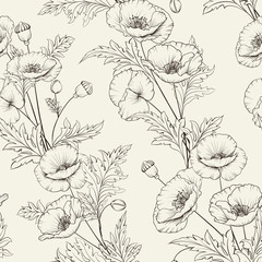 Pattern of poppy flowers on a gray background. Vector illustration.