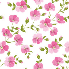 Linum seamless pattern for fabric swatches. Pattern with red flowers and small leaves. Vector illustration.