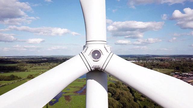 Close-up view of wind Turbine, wind turbine blades