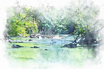 Abstract colorful river lake and tree in the forest on watercolor illustration painting background.