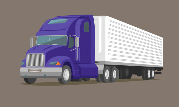 Modern american truck vector illustration. Heavy transport picture