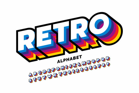 Retro style colorful font design, alphabet letters and numbers