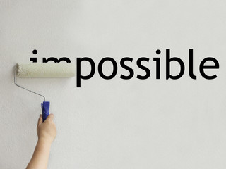 The word impossible turns into a word possible