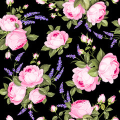 The Rose seamless pattern. Red Roses and lavender flowers on wallpaper, seamless pattern template. Vector illustration.