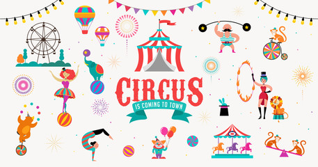 Circus banner and background with tent, monkey, air balloons, gymnastics, elephant on ball, lion, jugger and clown. Vector illustration