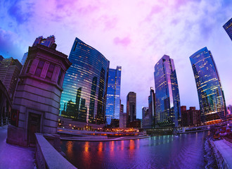 Chicago skyscrapers against pink sky during sunset