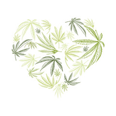 Vector heart shape of hemp plant and cannabis leaves for st. valentines day