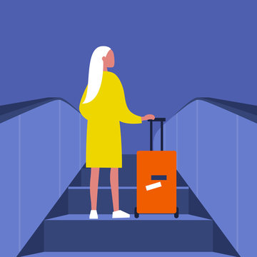 Young blonde female passenger going up on the escalator with the baggage. Airport. Subway station. Travel. Flat editable vector illustration, clip art