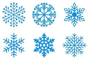 von eisblauen Frostigen Schneeflocken auf einem isolierten weißen Hintergrund.
