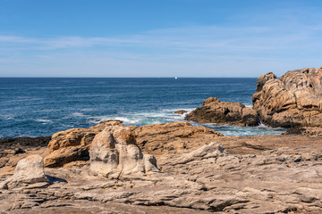 French landscape - Bretagne. A beautiful beach with rocks and view over the sea.
