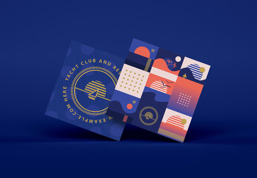 Square Business Card Layout with Retro Sunrise Icons