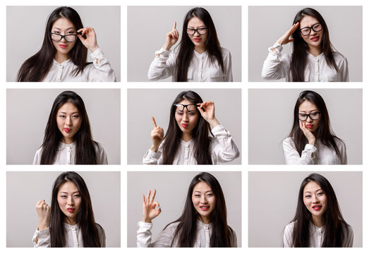 set of portraits of a young asian woman with different emotions