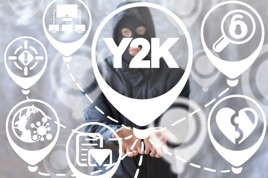 Y2K virus concept. Millennium bug cyber security.