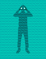 Hacker person spying data in the network. Privacy violation. Access to the network. Password. Man with binoculars hidden behind a binary numbers wall. Vulnerability concept