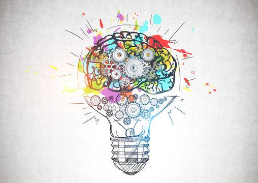 Light bulb with gear brain, creative thinking