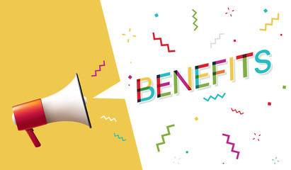 "Megaphone with ""Benefits"" Speech Bubble"