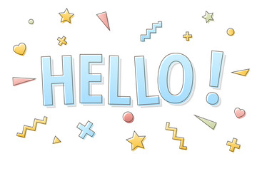 Hello sign on white background