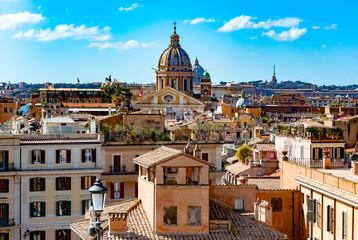 View of Rome's city from Trinita dei Monti church, Rome, Italy