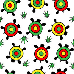 Seamless vector pattern. Many bright multi-colored turtles among hemp leaves. On a transparent background.