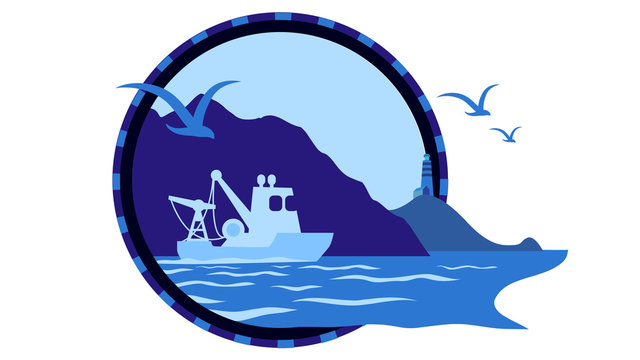 Stardust of sea life. Gulls, trawler boat and mountain shore on circle logo icon, sign for sailor