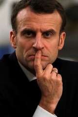 """French President Emmanuel Macron attends a meeting with businessmen as part of the """"Great National Debate"""" in Deols"""