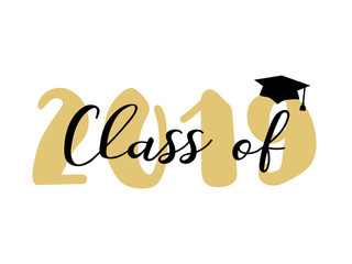 Class of 2019. Modern calligraphy. Template for graduation design, party, high school or college graduate, yearbook.