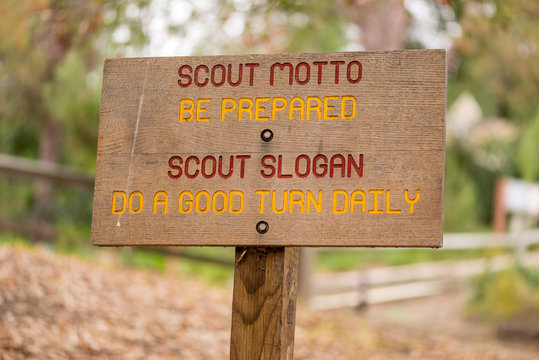 Boy Scout Oath on wooden sign