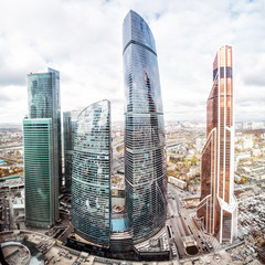 Moscow City International Business Center with tall skyscrapers