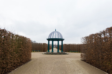 herrenhausen gardens pavilion winter dry plants clouds