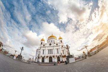 One of the main religious and architectural attractions in Moscow and Russia is the Christian Church of Christ the Saviour, panoramic view
