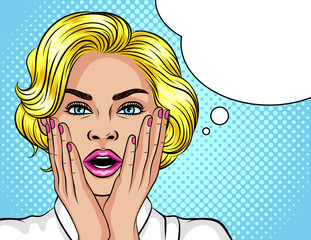Color vector illustration in the style of pop art. The blonde girl opened her mouth in surprise. Beautiful woman in shock. The girl holds her hands near the face. Wow effect for girl