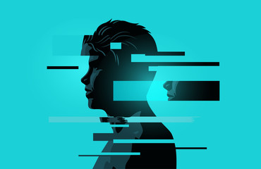 Image Of a Man With Glitch Fragments. Mental health issues. Anxiety, mindfulness and awareness concept. Vector illustration.