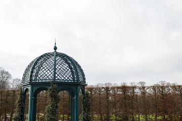 herrenhausen garden pavilion top clouds winter overcast
