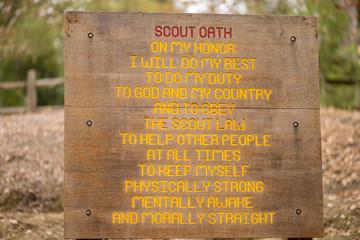 Boy Scout Oath on wooden sign