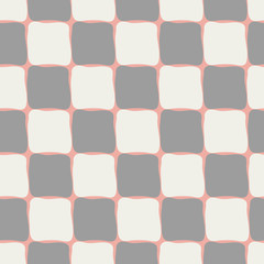 Neutral pastel browns and cream coloured checkerboard seamless vector pattern on pastel coral background. Hand drawn tiles. Perfect for stationery, textiles, home decor, giftwrapping, packaging