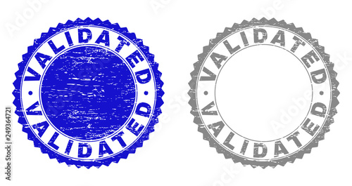 Grunge VALIDATED Stamp Seals Isolated On A White Background Rosette With Texture In